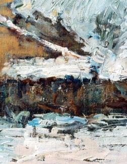 1969 - 25x30 - olio su faesite - Inverno a Ponte Scodogna par